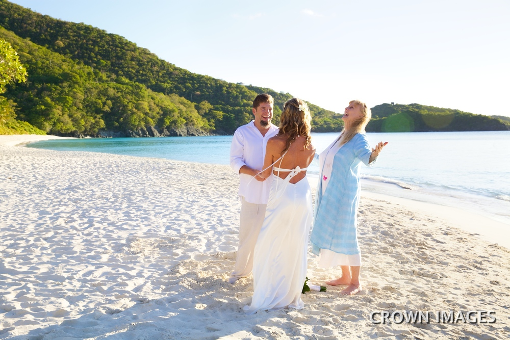 sunset wedding on trunk beach st john