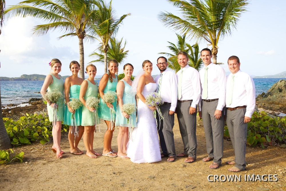 bridal party for a st thomas wedding