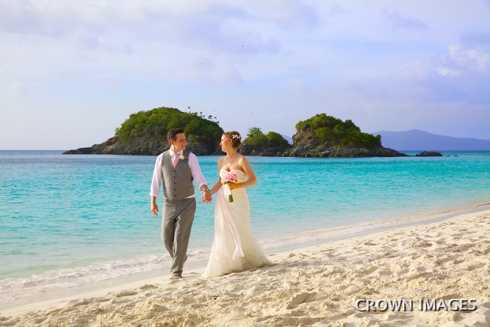 beach wedding st john on trunk beach