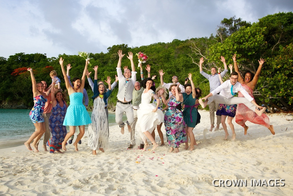 wedding party on the beach virgin islands