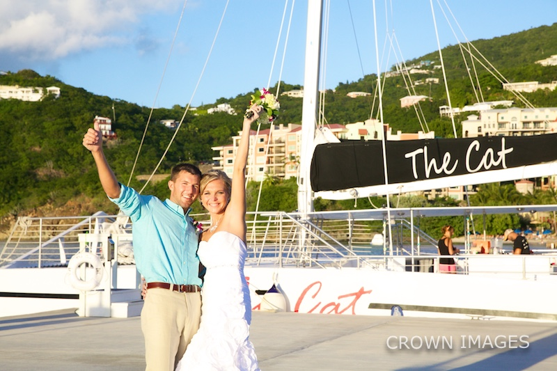 st thomas wedding reception on a sail boat