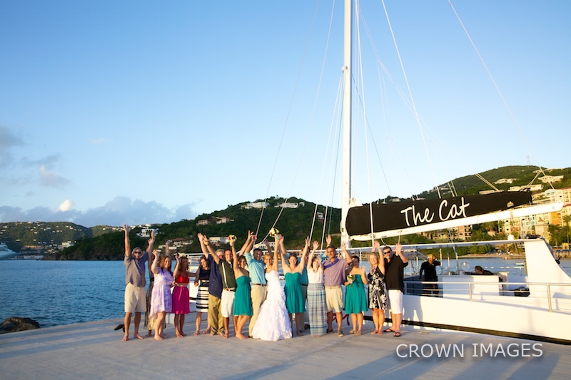 sunset sail for a wedding reception