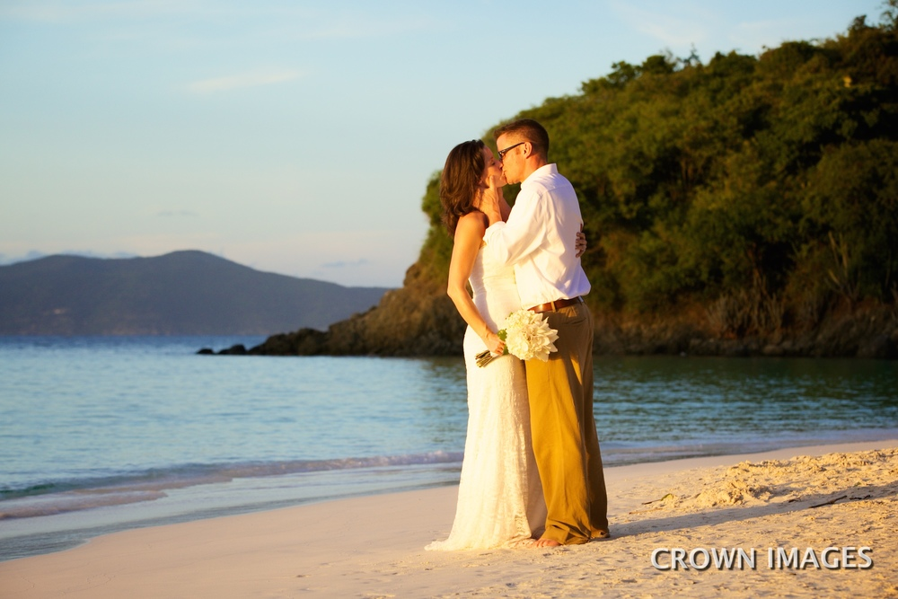 sunset wedding photos on st john