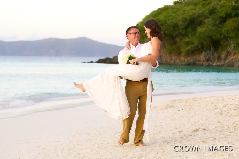 sunset wedding on trunk bay beach