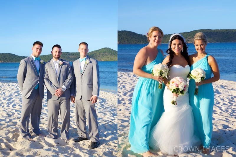 bridal party on the beach us virgin islands