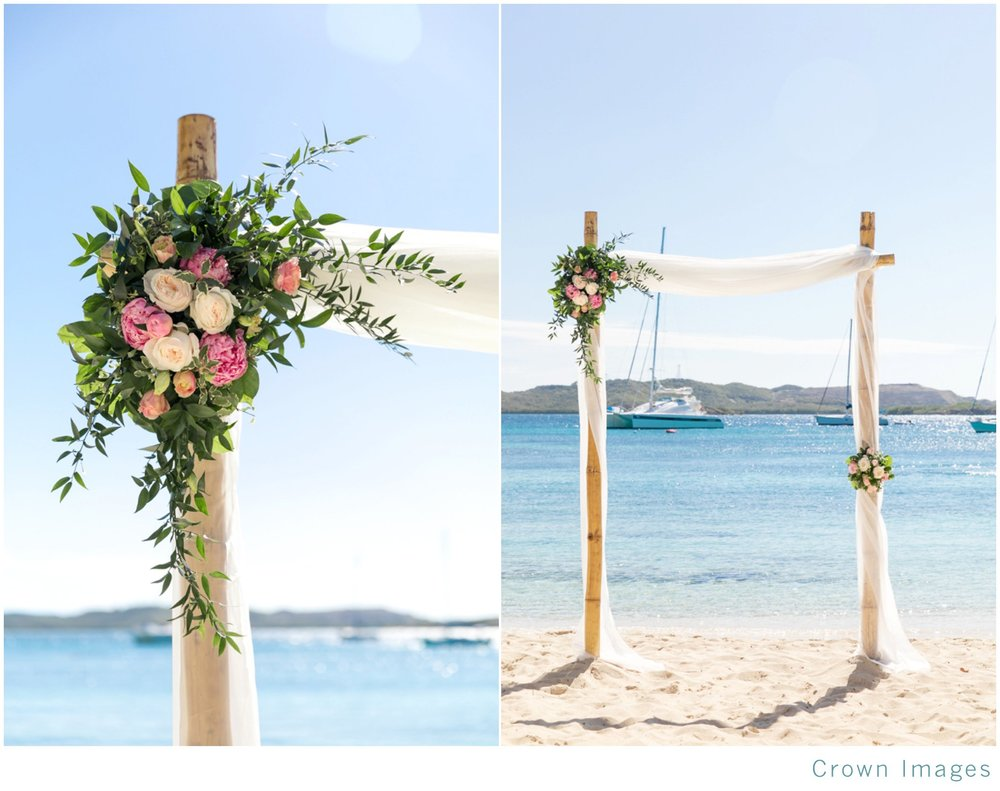 beach wedding at secret harbour resort