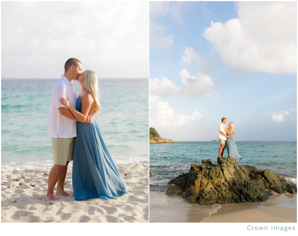 beach engagement session on saint thomas