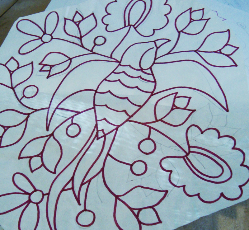 Drawing on tracing paper used to lay out designs on my pots.