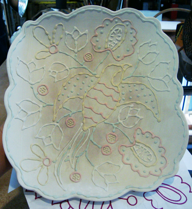 Serving plate decorated with a flycatcher and Indian inspired designs.