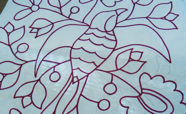 Hand drawn illustration of avian and floral motifs...