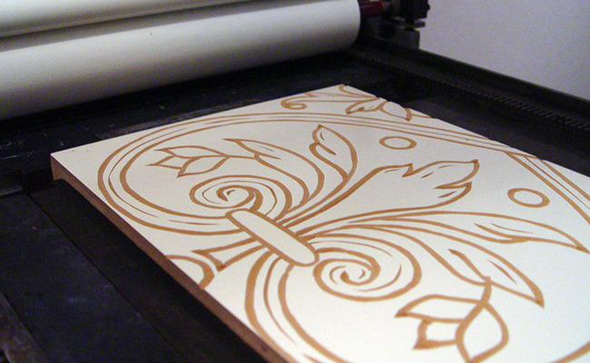 Inked and ready for printing on the Vandercook Press...