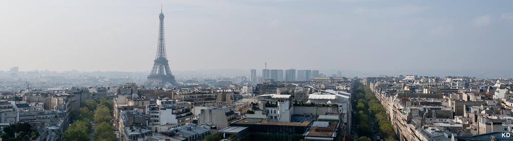 Eiffel Tower Paris view from top of Arc de Triomphe.jpg