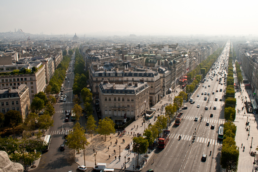 View of Champs Elysees from top of the Arc du Triomphe