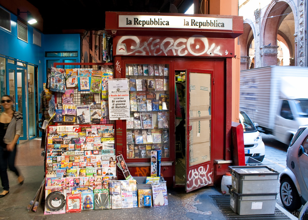 Newsstand in Bologna