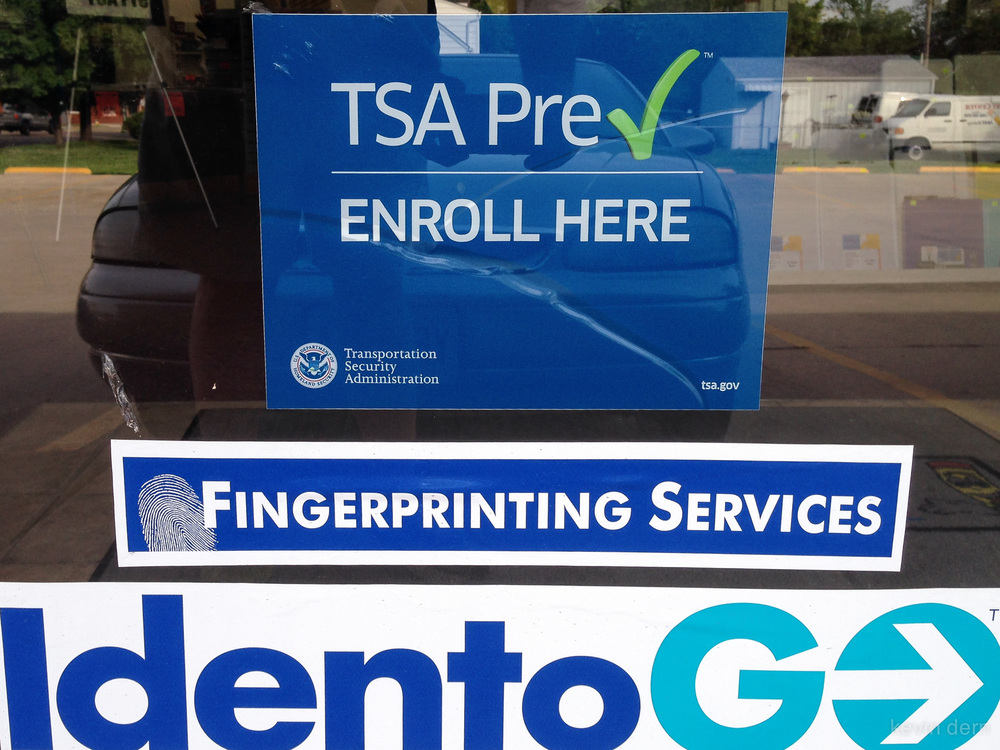 Sign on the door at the TSA Pre ✓  enrollment center I visited.