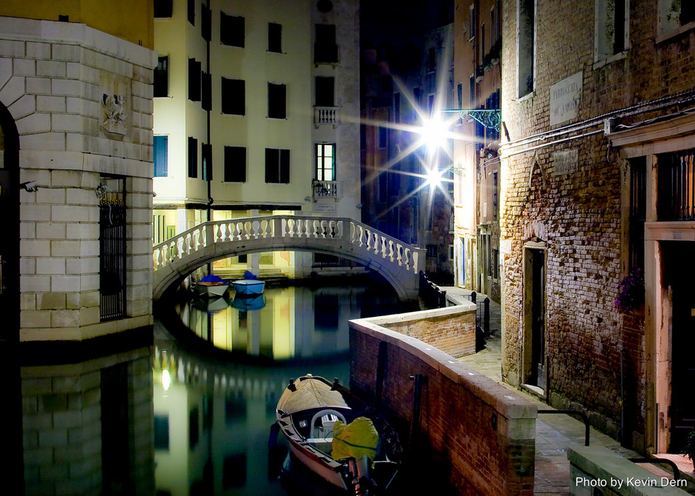 My photo of a Venice Canal at night.