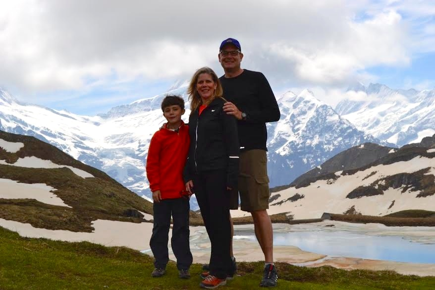 Susan and her family in the Swiss Alps
