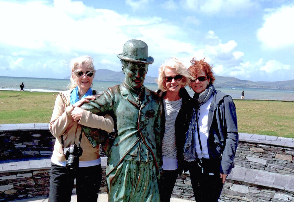 Maureen, Charlie Chaplin, Sue, and Kelly (L to R) in Waterville, Ireland