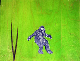 "Chris Herbeck, ""Introducing the Mythical Beast: Bigfoot,"" Watercolor-stained wood panel and ink on paper, 11 3/8″x9 3/8″, 2008"