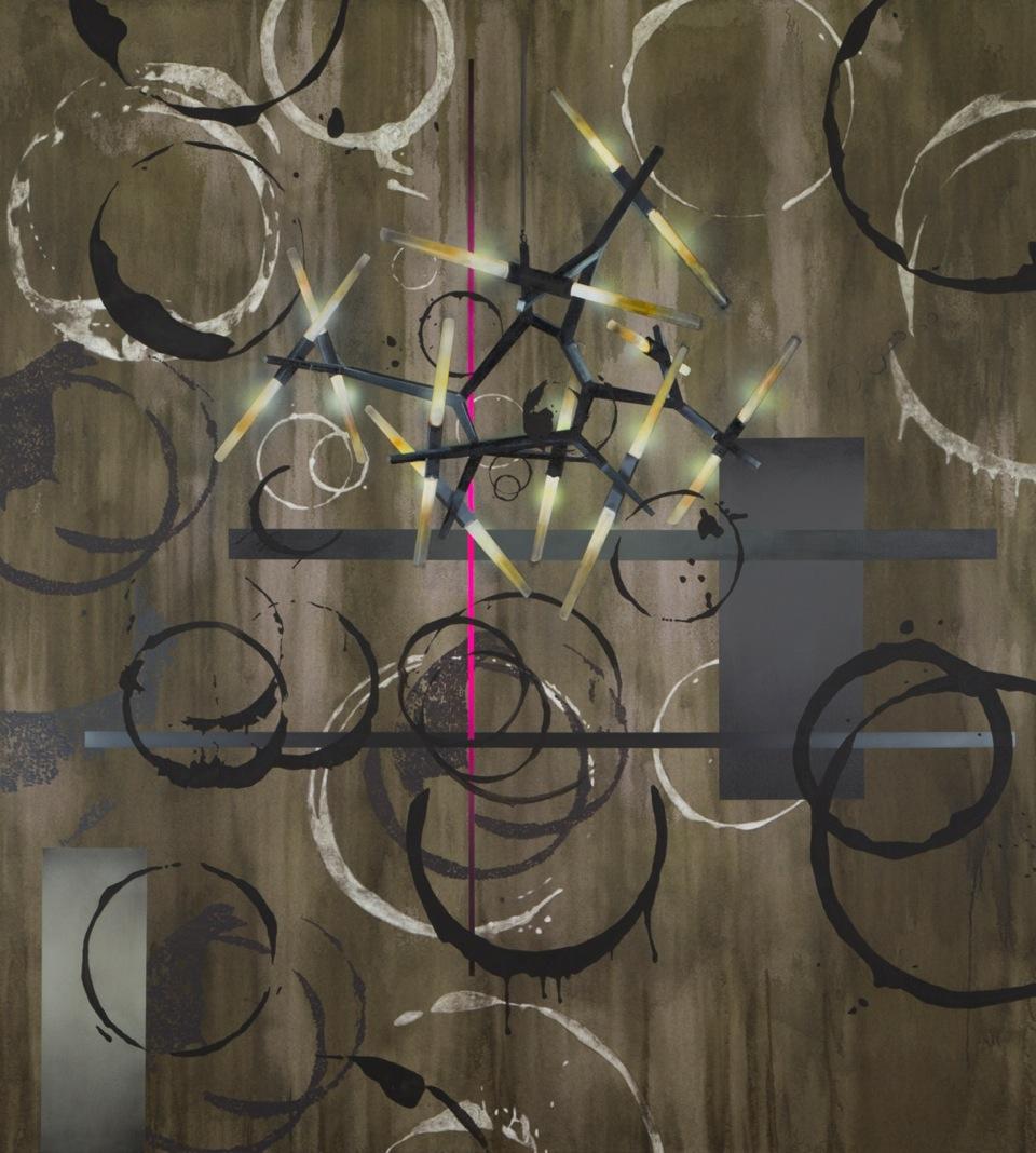 Daniel Kannenberg,    So schön sterben nur die Sonnen,  2014   Tusche, Acryl und Lack auf Leinwand, 225 X 205 cm   Courtesy of Anna Jill Lüpertz Gallery, Berlin