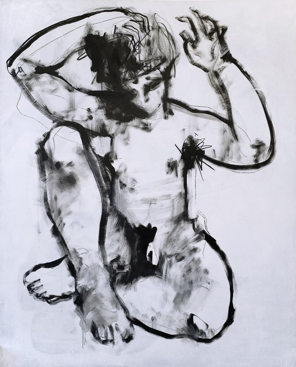 """Untitled,"" 210 x 170 cm, Charcoal & Acrylic on Canvas, 2018"