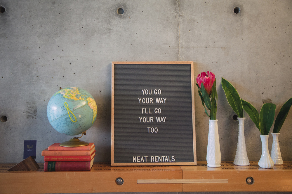Neat Rentals letter board and props at The Bash, Calgary