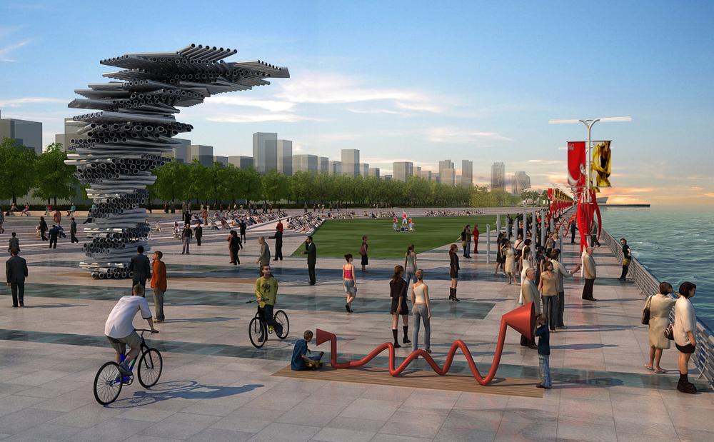 Dalian East Port 80m Seashore Landscape Avenue