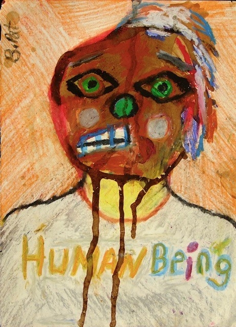 "The show takes its name, ""Human Being"" from this work by B. Pat."