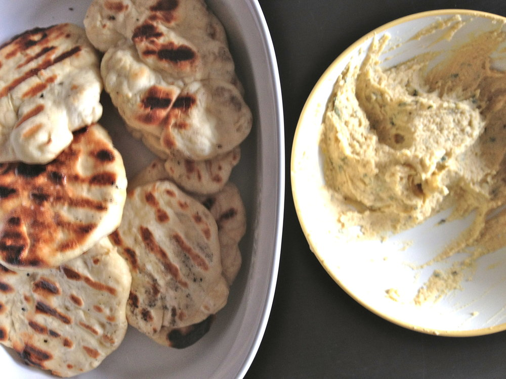 HOMEMADE NAAN + LEMON, GARLIC, ROSEMARY HUMMUS