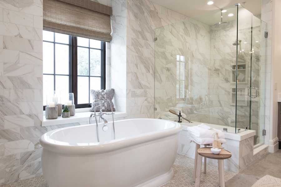 Hilltop Haceinda, an interior design project by Denise Morrison Interiors that features a master bathroom with stunning bathroom tile and shower tile.