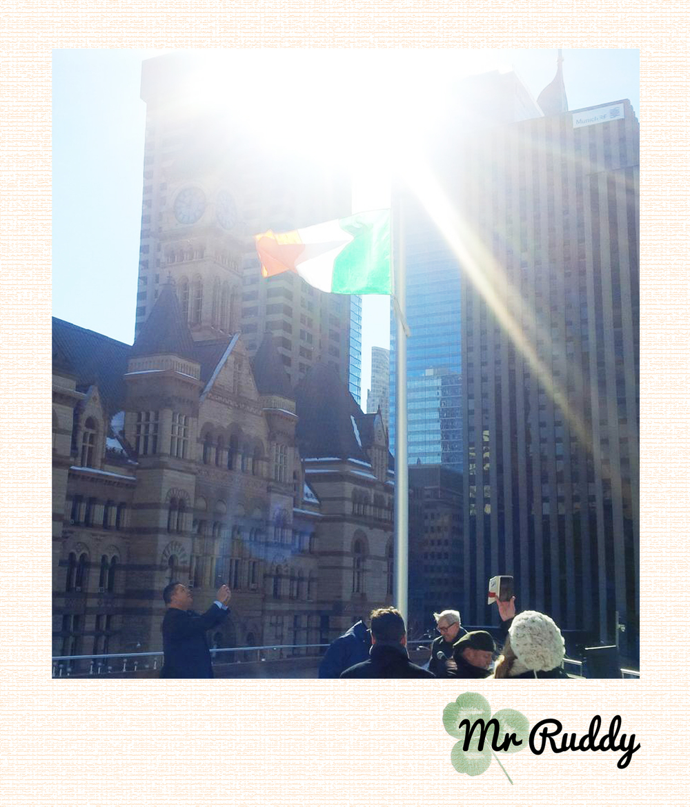 Irish Flag hoisted over Nathan Phillips Square...