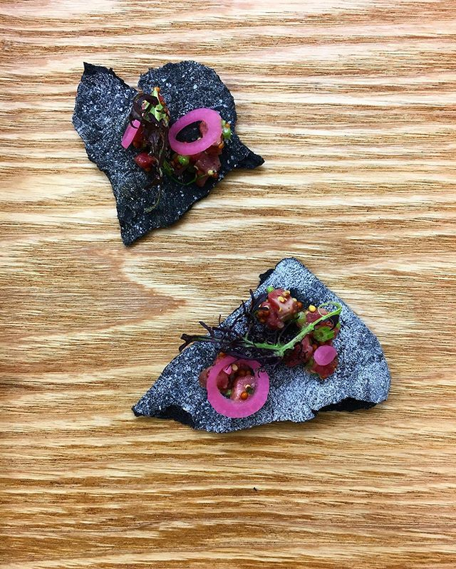 One of our favorite canapés served last night for @harpersbazaarus hosted by @the.wing : @eatmeaty Grass fed Tartare / Pickled Red Onions / Charcoal Cracker / Country Mustard.