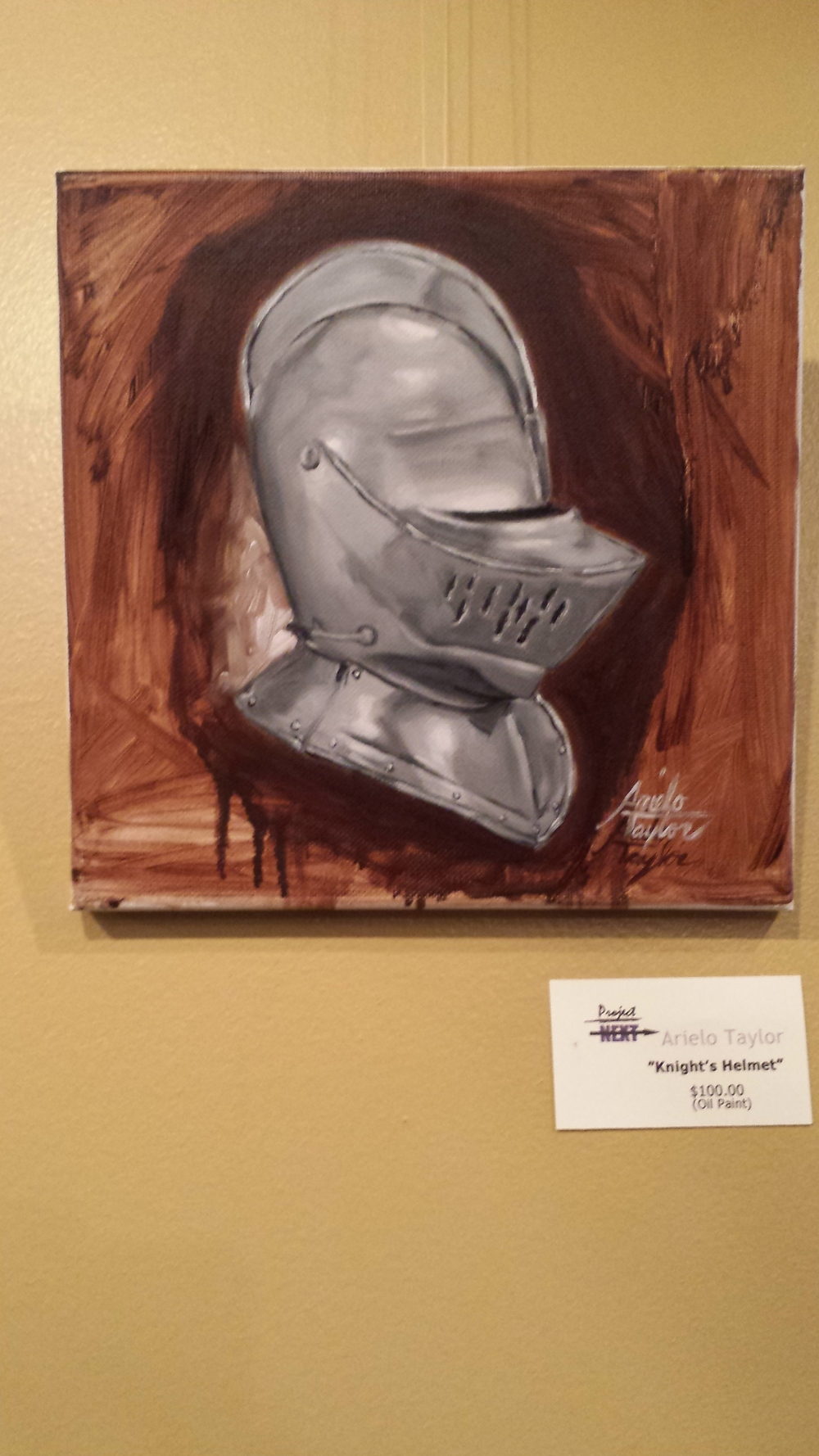 """Knight's Helmet""  $100 (Oil Paint)"