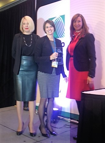 (Left to Right) Joanna Osawe (WiRE Co-founder), Bonnie Hiltz, Government and Regulatory Affairs at ENGIE and winner of the WOTY Award and Rebecca Black (WiRE Co-founder), at APPrO Dinner.