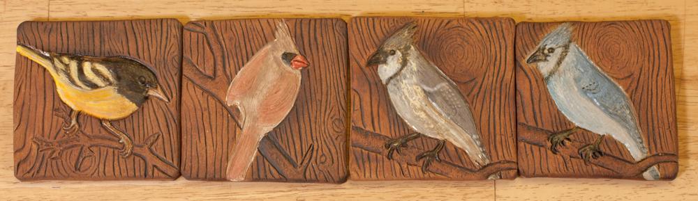 A series of bird tiles Theresa created