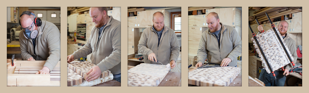 Tyler in the various steps of making his End Grain Cutting Boards