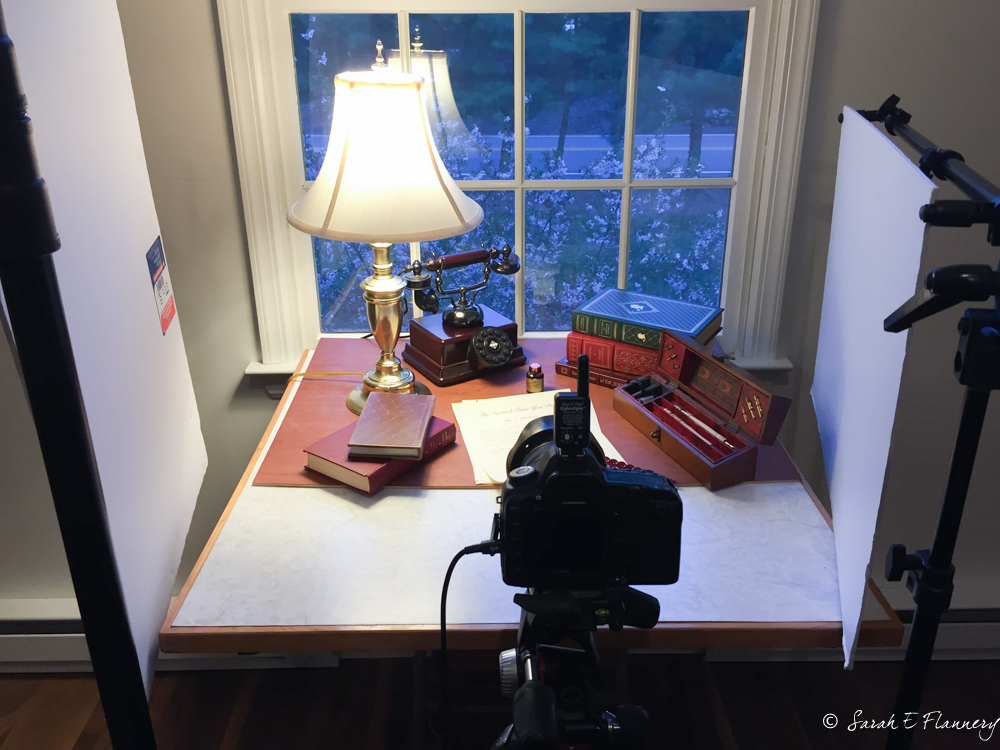 Behind the scenes:  simple setup using the light from the window, table lamp and white foam core cards on either side kicking light back into the scene.