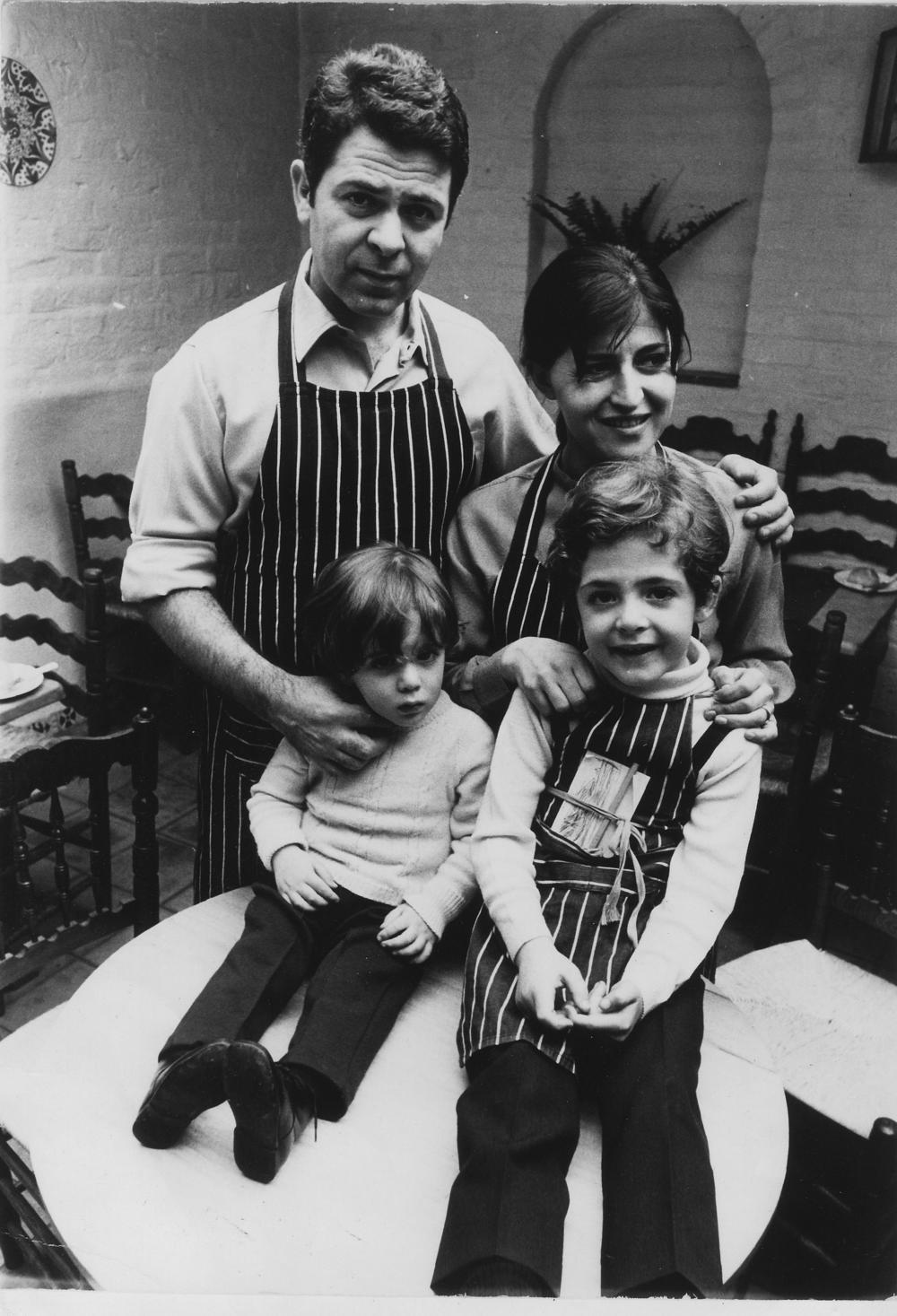 Lorenzo & Mara Berni, founders of the legendary San Lorenzo restaurant in Knightsbridge, with their two sons Ghigo and Paolo, circa 1968