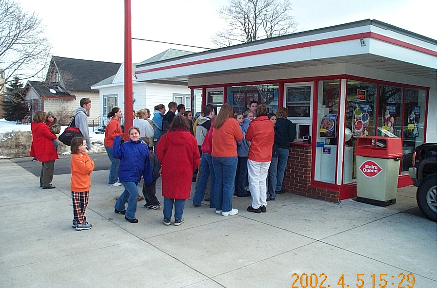 Munising Dairy Queen only one-half hour after opening for the 2002 season on Friday, April 5.