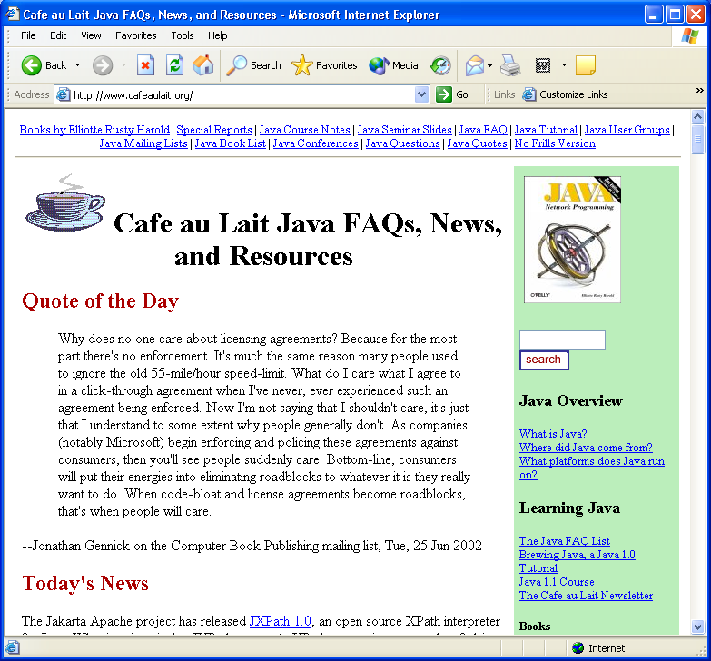 Quote of the Day, Café au Lait website, June 26, 2002