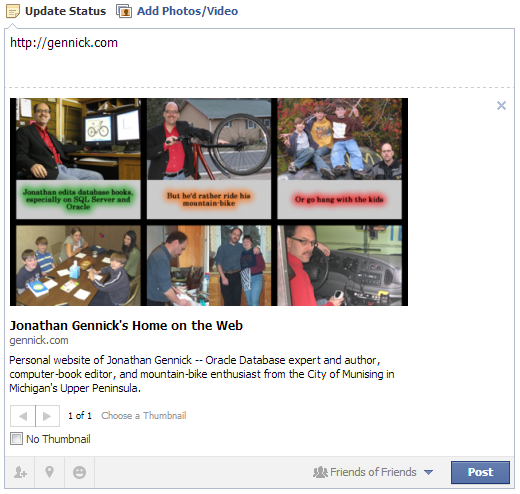 Figure 9. Facebook's preview showing my desired  thumbnail image and page title