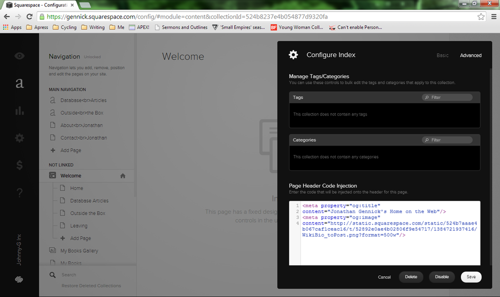 Figure 6. Open Graph tags specified to be injected into my home page's HTML header
