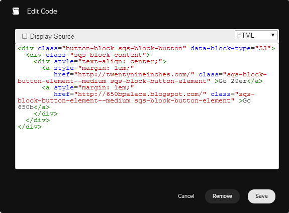 Figure 1. The solution code as it appears when pasted into a Squarespace Code block