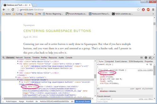 Figure 2.The underlying HTML structure in the listing of blog post excerpts