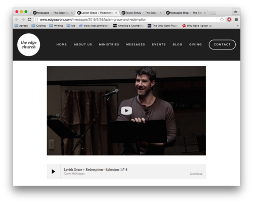 Figure 1. Individual blog post withthe sermon above the fold