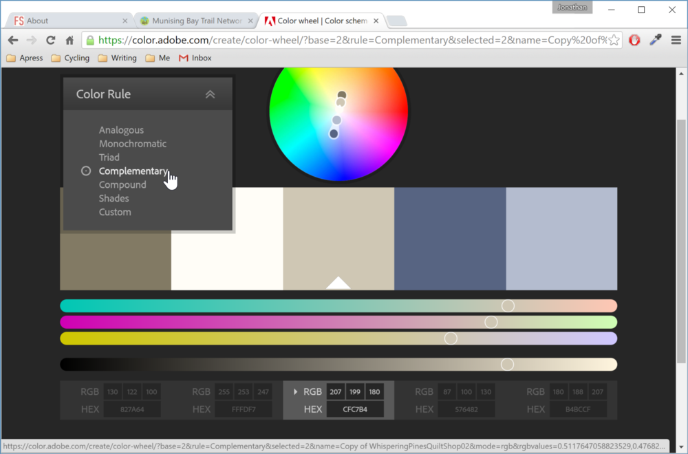 Figure 3. Colors complimentary to the image