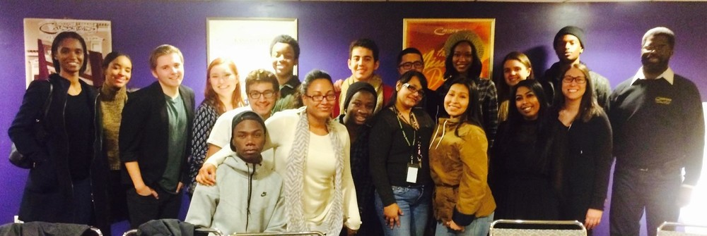 Ellen, center white sweater, with stART students at a Crossroads Theater Company talk back event.