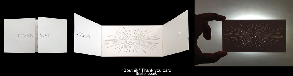 """Sputnik"" Hand Crafted Thank You Card"