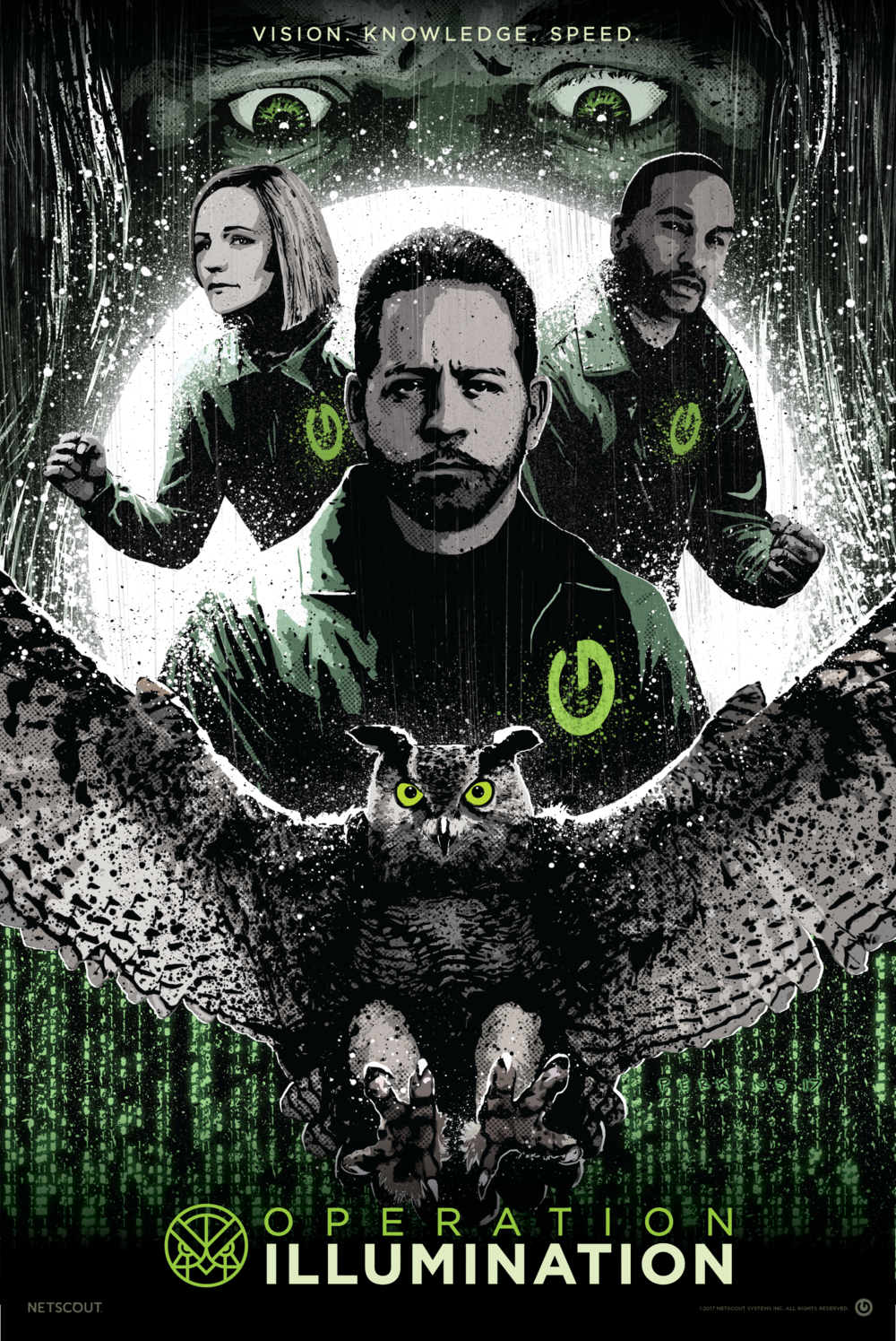 "This poster (and Graphic Novel cover) utilizes real Netscout leaders as key characters spearheading ""Operation Illumination"" and inviting customers and partners to join them as ""Guardians of the Connected World"""