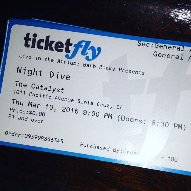 Tomorrow!!! Let me know if you still need a ticket! #santacruz #thecatalystclub